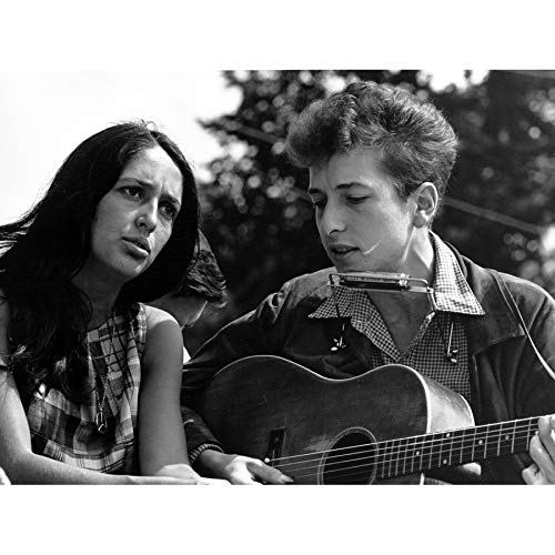 Folk Singers Joan Baez Bob Dylan Guitar Old Photo Art Print Canvas Premium Wall Decor Poster Mural Guitare Photographier Mur Déco Affiche