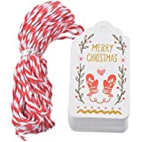Hosaire 50Pcs Noël Cadeau Tags Vintage étiquettes Cadeaux en Papier Tags Impression Merry Chirstmas Décor de Noël Fête avec Corde 10m