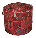 Indian Comfortable Floor Cotton Cushion Ottoman Cover Embellished With Patchwork and Embroidery...