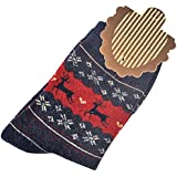 OULII Mujer Calcetines de lana calcetín caliente invierno con diseño de ciervos de Navidad (Azul Marino)