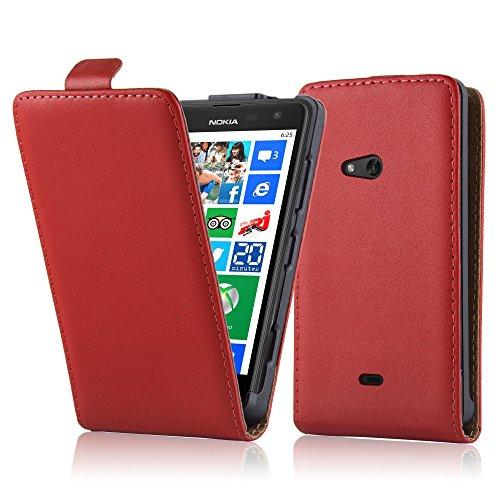 Cadorabo Hülle für Nokia Lumia 625 Hülle in Chili rot Handyhülle aus Glattem Kunstleder im Flip Design Case Cover Schutzhülle Etui Tasche Chili-Rot