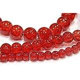 3 Stränge Crackle Glasperlen Rot Set 230Stk 4mm 6mm 8mm Rund Glatt Crash Beads für Basteln Schmuck Kette D50