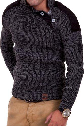 Tazzio pull en tricot col à boutons 3900 gris fonce