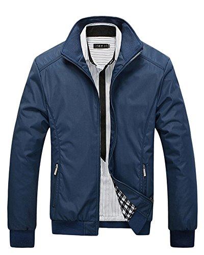 Hombre Chaqueta de los Cazadora Manga Larga Outwear Azul marino XL