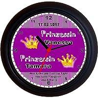 Lucky Clocks Zwillinge Prinzessin MÄDCHEN LILA Taufe Geburt Wanduhren für Jeden Anlass mit jeder Beschriftung und Jedem Vornamen Namen erhältlich