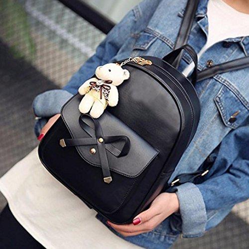Damen Rucksack, VJGOAL 1 Sätze Frauen Mädchen Mode Rucksack Handtasche Schultertasche Schuleinkaufstasche Crossbody Frau Geschenke Schwarz