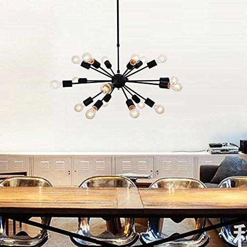 DIY Industrie Rétro Vintage Lustre Suspension Leuchten Lampe suspension ampoule E27 pour salle à manger table à manger couloir Restaurant Salon Café de l'Hôtel Noir Ø75 Hauteur réglable (18 ampoules)