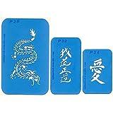 Best of Nr. 9: Set mit 3 Airbrush-Schablonen: Drache, Chinesische Zeichen