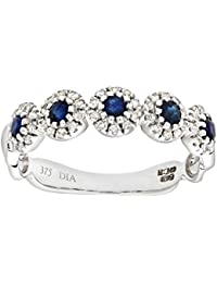 Naava Women's 9 ct White Gold Pave Set Diamond and Sapphire Ring