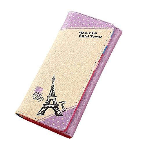 Fami Donne Parigi Torre Eiffel Borsa Hasp Coin Portafoglio lungo titolari della carta (PP)