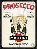 Snowae Prosecco Martini Poster da Parete in Metallo antiruggine in Alluminio Resistente alle intemperie, Decorazione da Parete per la casa, Stile retrò, Vintage, Targa in Latta 30,5 x 274 cm