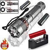Siswong Super Hell LED Taschenlampe Licht, 1 Set 20000LM Einstellbarer Fokus Zoombar Jagd Flashlight Handlamp Laternen Lampe+ 18650 Batterie + Ladegerät