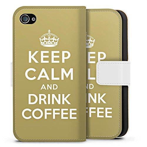 Apple iPhone X Silikon Hülle Case Schutzhülle Keep Calm Kaffee Coffee Sideflip Tasche weiß
