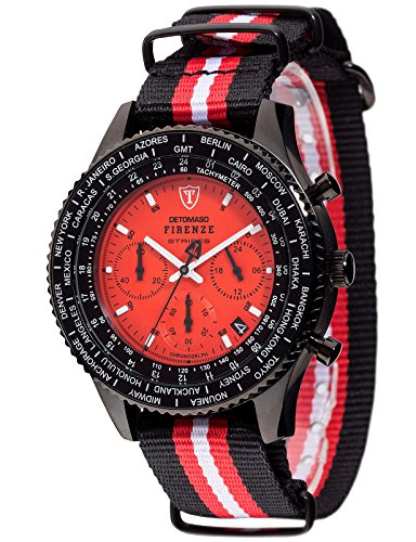 DETOMASO Firenze Stripes Men's Quartz Watch with Red Dial Chronograph Display and Multicolour Nylon Bracelet Dt1070-A