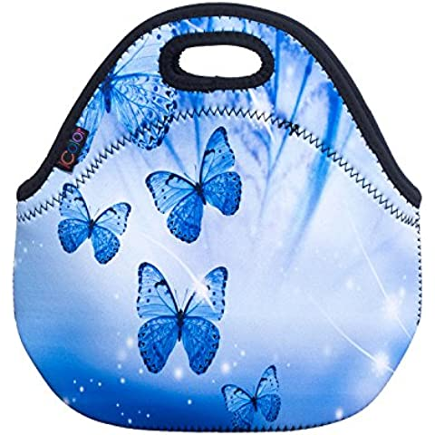iColor Neoprene Lunch Bag Kids Thermal Lunch Tote Bag Lunch Box & Food Container Insulated Soft Lunchbox Food Storage Cooler - Great Gift for Boys,Girls (Blue Butterflies) HST-LB-126 by HST