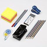 Komplett Büro Student Stationery Set inkl. Sticky Memo Notes, Roller Correction Tape, Stifte und Bleistifte Hefter mit Heftklammern und 1Locher