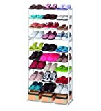 #4: PETRICE Amazing Shoe Rack Stand Holds with 10 layers Portable Foldable (White)