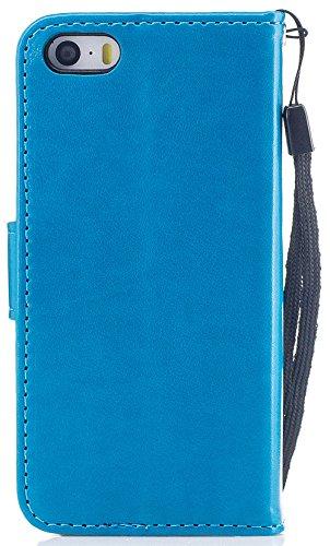 Iphone 5S Coque silicone, Iphone 5 Coque silicone, Iphone SE Accessories, Nnopbeclik® Mode Fine Folio Wallet/Portefeuille en Bonne Qualité PU Cuir Housse pour Iphone 5S/5/SE (4.0 Pouce) Papillon et Fl bleu