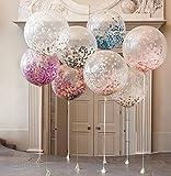 ILOVEDIY 15 Stück 12 Zoll Konfetti Luftballons mit Bunte Golden Folie Konfetti für Geburtstagsfeier Hochzeit Party Deko (Mixed 4)
