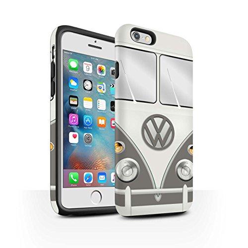 Coque Matte Robuste Antichoc de STUFF4 / Coque pour Apple iPhone 6S / Titan Rouge Design / Rétro T1 Bus Campeur Collection Souris Gris