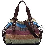 Multicolor rayas la lona de los totalizadores del bolso de las mujeres Hobos y bolsos de hombro