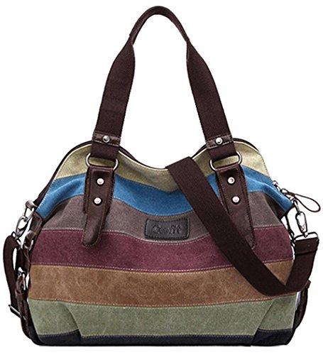 Damen Shoppe,COOFIT Multi-Color-Striped Canvas Damen Handtasche / Umhängetasche (Essen Licht 20 1)