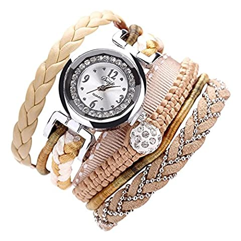 Sunnywill Feine Leder Band wicklung Analog Quartz Movement Armbanduhr (Beige)