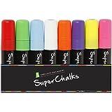 15mm JUMBO Tip - SuperChalksTM Multi Colored Liquid Chalk Markers - 8 Pack - Brilliant Bold Colors