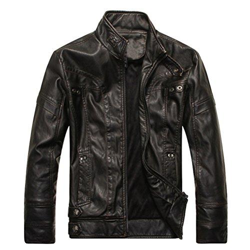 Ghope Men's Jacket Faux Leather Vintage Sweat Jacket Biker Bomer Jakcet Outwear Schwarz
