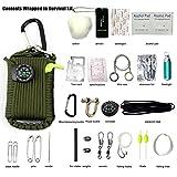 Yancorp Ultimate 28 Stk. Grenade geformte Paracord Karabiner Survival Kits mit 10,5 Metern Paracord Seil und alle Notfall-Tools., grün