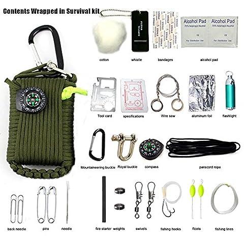 Yancorp ultime 28pcs en forme de grenade Paracorde Mousqueton Kits de survie Paracorde avec 10.5metres Corde et tous les outils d'urgence, Green