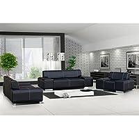 Ensemble canapé et fauteuil 3+2+1 flavio simili cuir noir