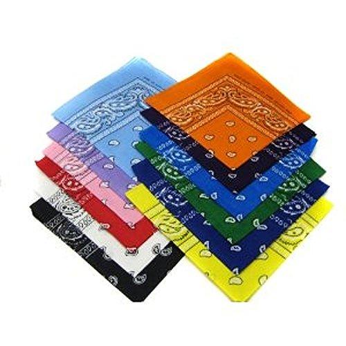 Boolavard Paisley Bandanas Verschiedene Farben 12 Pack - Dutzend Baumwolle Cowboy Bandana Schal