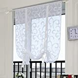 Yujiao Mao Floral Embroidered Voile Sheer Roman Curtains Cafe Net Curtains for Kitchen 100x140cm
