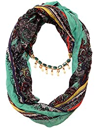 Scarf Necklace Necklace Scarf Printed Green Pendant Scarf Stole Wrap Muffler Scarves ORDER NOW ""