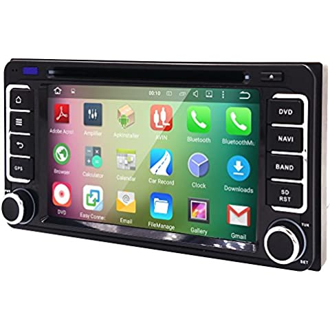 HIZPO Android 5.1 Lolipop Car Stereo 2Din In Dash Quad Core 1024*600 GPS DVD Player Navigation Radio support BT/SWC/Rear camera/Wifi/Subwoofer fit for TOYOTA