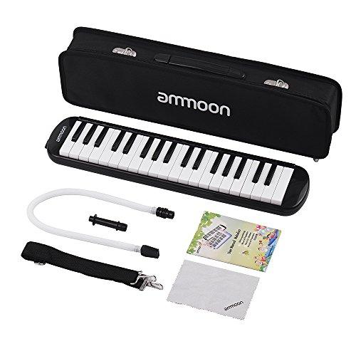 ammoon Melodica 37Tasten Melodica, Piano Style Tastatur Mundharmonika Mund Organ mit Mundstück Reinigungstuch Tragetasche für Anfänger Kinder Musik Geschenk