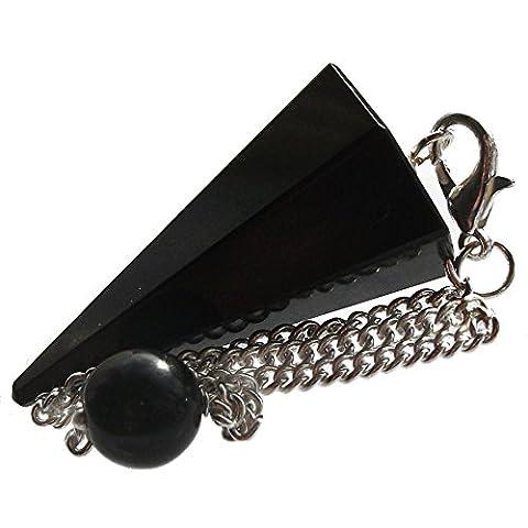 Healing Gemstone Crystal Point Pendulum - Divination, Dowsing, Scrying (Black Agate (Onyx))