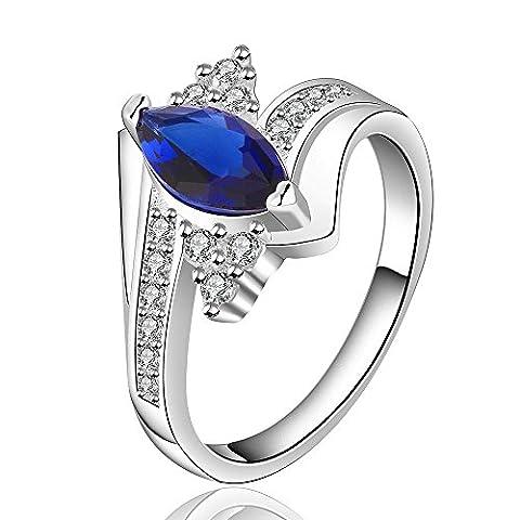 Thumby Plaqué Argent Argenté 4.3g Mode Cz Bague Saphir Elliptique Simple pour les femmes,blue,7