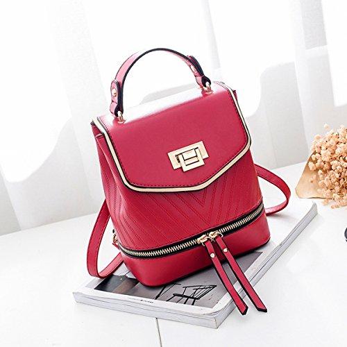 damen handtasche Reine farbe abgedeckt tasche rucksack quadratischen quadratischen kleinen quadratischen tasche Rotwein
