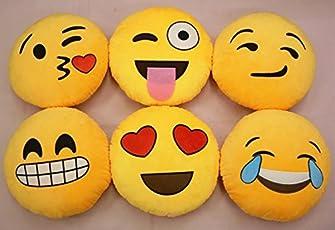 Gooseberry Emoji Smiley Emoticon Round Cushion Pillow Stuffed Plush Soft Toy, 41.1 x 35.9 x 12.7cm (Yellow, sp78)