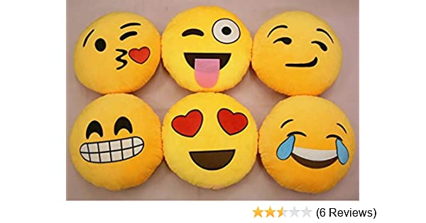 bf6787b0b7c4 Buy GOOSEBERRY® Emoji Smiley Emoticon Yellow Round Cushion Pillow Stuffed  Plush Soft Toy 1pcs Online at Low Prices in India - Amazon.in