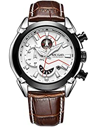 BINZI New Stylish Multi-function Analogue Calendar Luminous Wrist Watch Men's Leather Black & White 3D Dial Quartz...