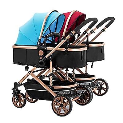 Abreast Ultralight Cochecito Doble Baby Twins Cochecito Cuna con toldo, Desmontable, suspensión Ligera Plegable Carrito para recién Nacido