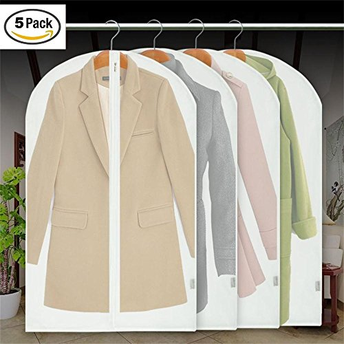 MotGlobal Wasserfest Transparent PEVA Kleidersäcke Mottensicher Staubdicht Kleidung Lagerung mit Reißverschluß, 5er Set (Jacke 5k)