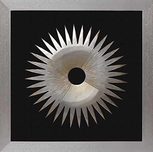 hiketree Einzigartiges Design of Flower Form Holz Wand Kunst und goldenen Akzente gewoben auf eine Holz Rahmen Silver3 (Akzent Malerei Wand)