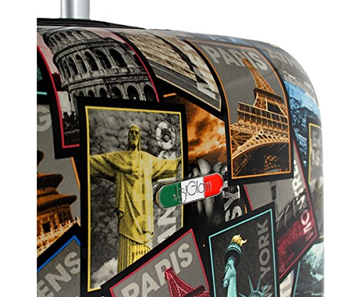 51DwxAqnauL - Equipaje de mano 50 cm JUSTGLAM Maleta cabina 4 ruedas trolley cascara dura adecuadas para vuelos de bajo cost art statua libertà