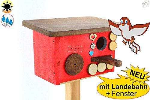 Wintervögel-Schutzhaus + Nistkasten BAYERN-DESIGN, Einflugloch ca. 33-35 mm für Rotschwänzchen, Kleiber, Spatzen NEU MIT ANFLUG + BEOBACHTUNG, Nistplatz & Ruheplätzchen ROT LASIERT, NEU mit Landebahn, mit Dach in braun, ca. 28 x 18 x 18 cm, + MIT FENSTER-Plexiglas XXL-Guckloch 50 mm , Ergänzung zu BTV Tränke, Futterstation Eichhörnchen, Insektenhotel, Vogelhaus, Futterhaus, Holz massiv, NATUR-Vogelhäuser in PREMIUMQUALITÄT