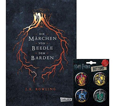 HARRY POTTER Hogwarts-Schulbuch: Die Märchen von Beedle dem Barden (Hardcover) + 1. original Button