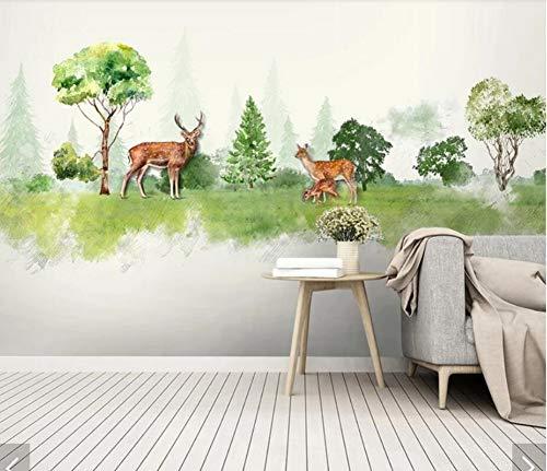 Preisvergleich Produktbild WORINA 3d aquarell wald elch tier kinder schlafzimmer tapeten wandbilder schlafzimmer home wandtattoo wandkunst tapeten kontaktpapier,  400x280 cm